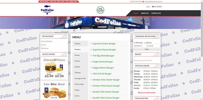 CodFellas Takeaway Website