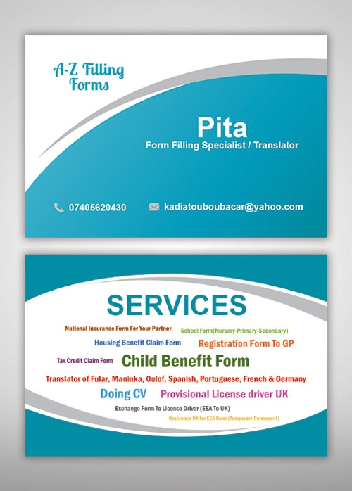 A-Z Filling Form Services Business Card - Sme Web Solutions