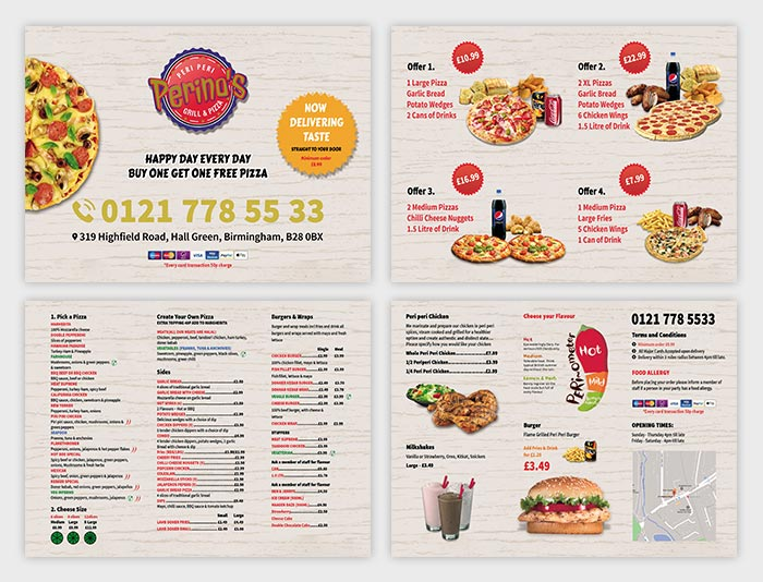 Perinos menu leaflet